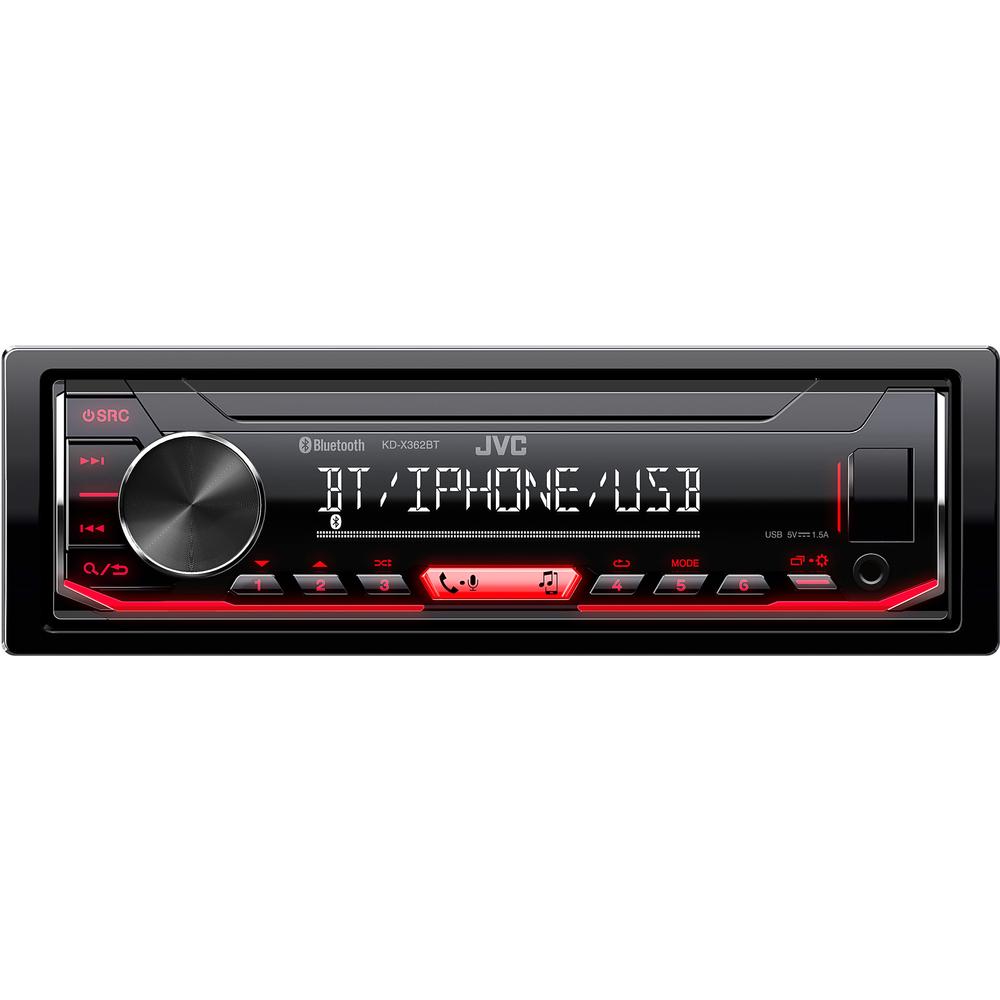 JVC autorádio bez mechaniky/Bluetooth/USB/AUX/červené podsvícení/odním.panel