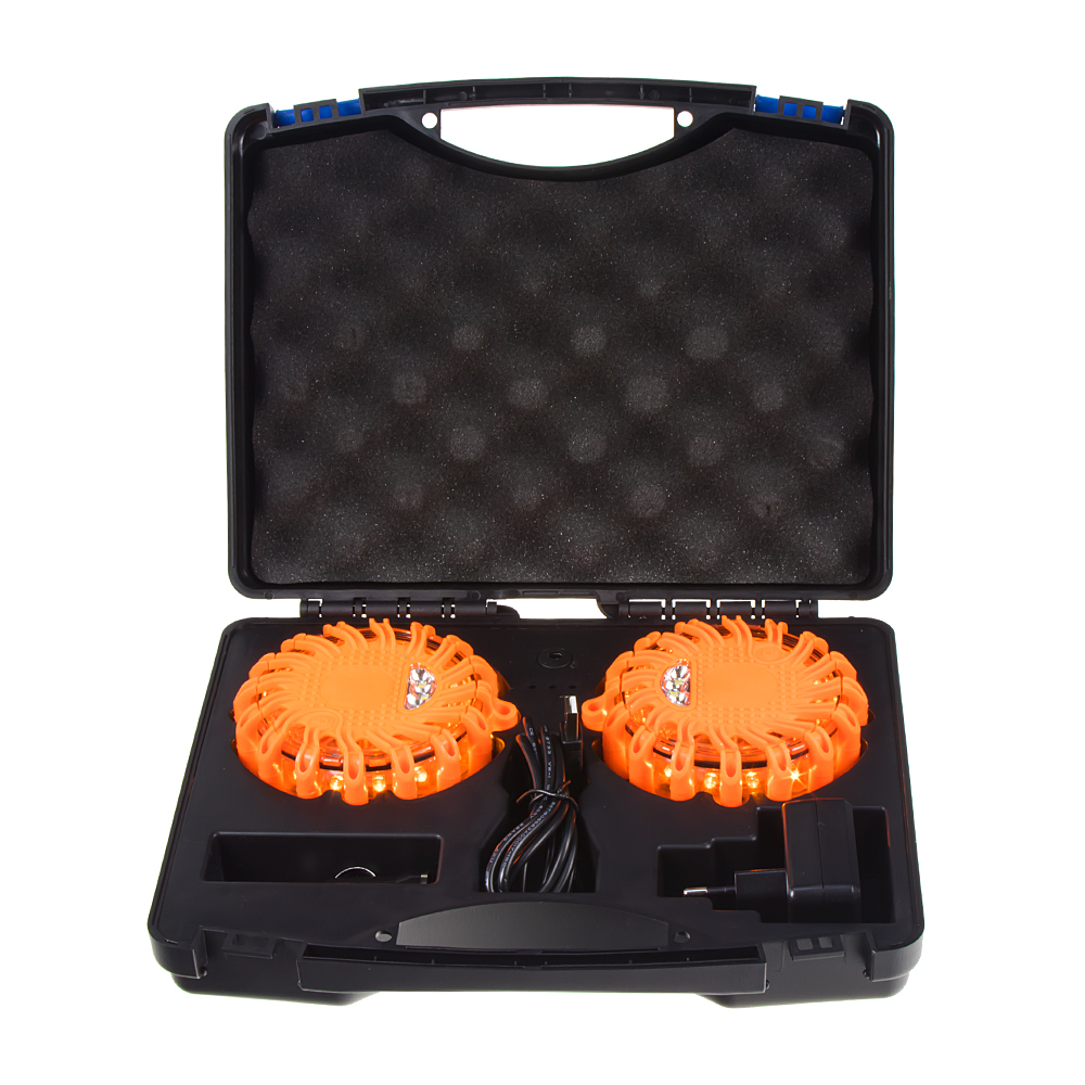 LED výstražné světlo 16LED, oranžové, set 2ks