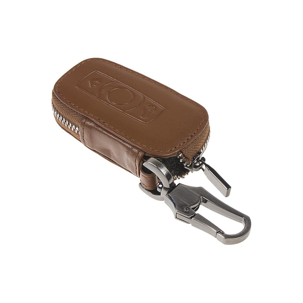 x Kožený obal se zipem hnědý pro klíč BMW, 3-tlačítkový (48BW102)
