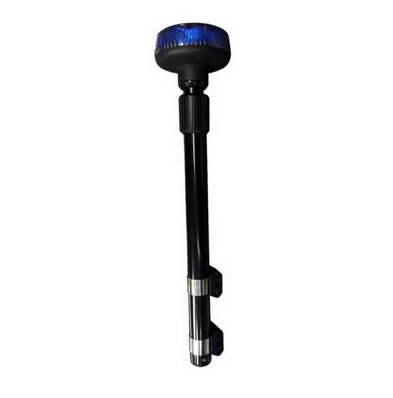 LED maják, 12–24 V, 9 x 3 W modrý s teleskopickou tyčí na motocykl