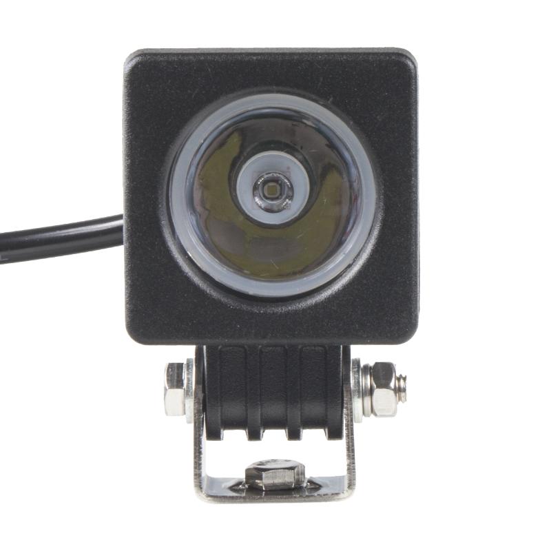 LED 1x10W světlo na mot./prac.světlo hranaté 10-30V, bodový paprsek