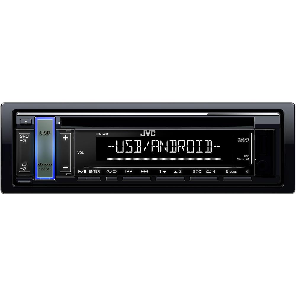JVC autorádio s CD/MP3/USB/AUX/volitelnou barvou podsvícení tlačítka/odním.panel
