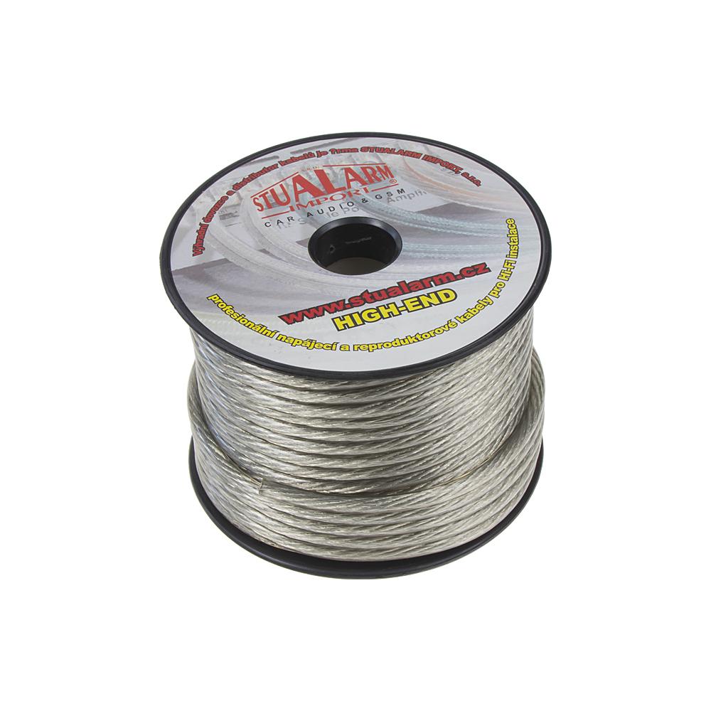 Kabel 6 mm, stříbrně transparentní, 25 m bal