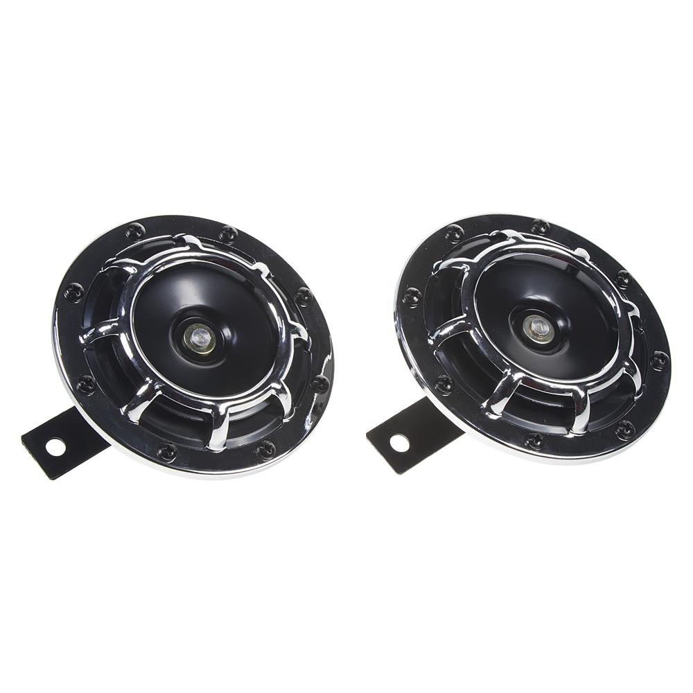 Diskový klakson (vysoký a nízký tón), chrom, 120mm, 12V
