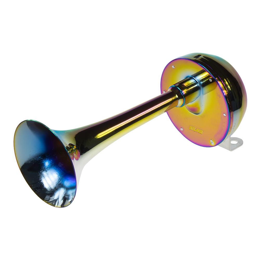 Singl-fanfára 320mm, chrom-duha, 12V, elektromagnetická, nízký tón