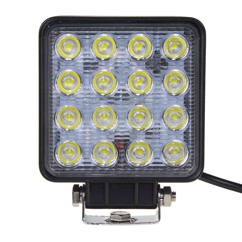 LED světlo hranaté, 16x3W, 107x107x60mm, ECE R10/R23