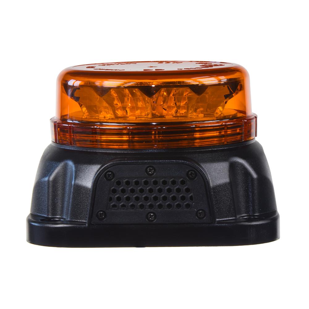LED maják, 12-24V, 12x3W oranžové barvy s integrovanou zvukovou signalizací, fix
