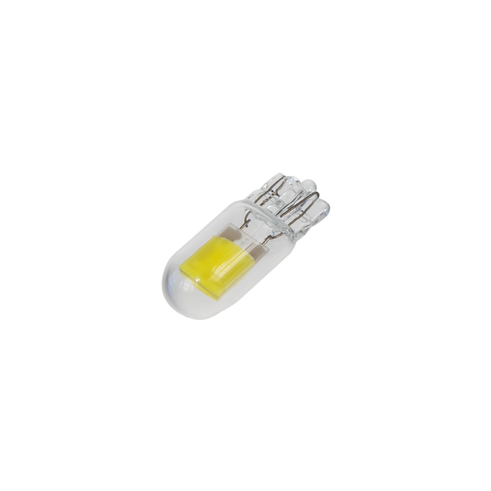 COB LED T10 bílá, 12V, celosklo