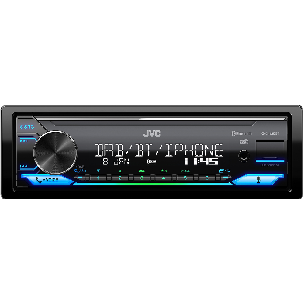 JVC DAB / FM autorádio bez mechaniky/Bluetooth/USB/AUX/odním.panel/multicolor