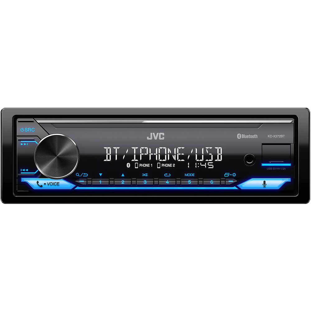 JVC autorádio bez mechaniky/Bluetooth/USB/AUX/modrá barva podsvícení/odním.panel