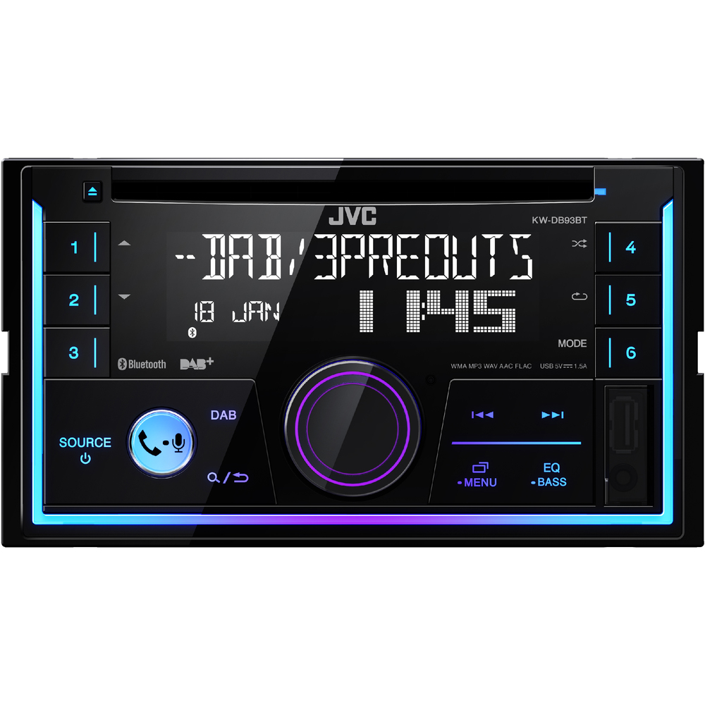 JVC DAB 2DIN autorádio s CD/USB/AUX/Bluetooth/Multicolor