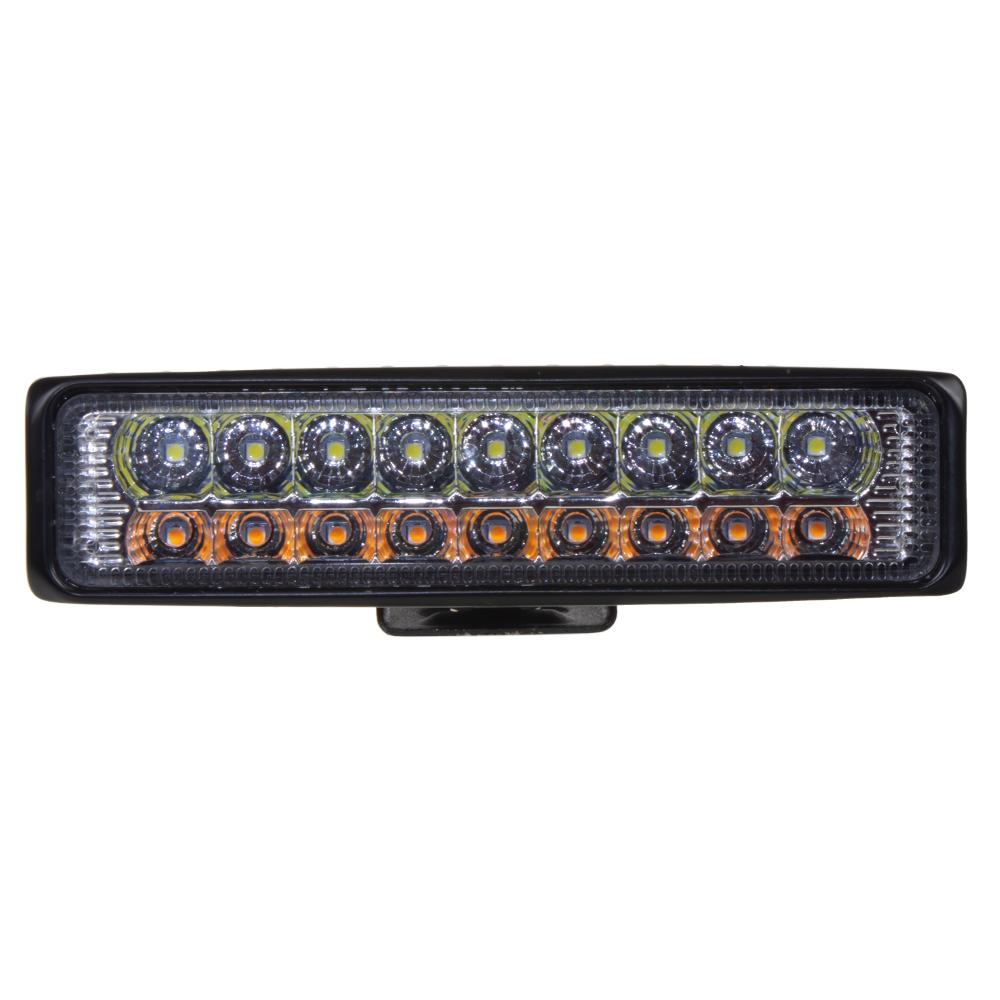 LED světlo obdélníkové, bílá + oranžová, 18x3W, ECE R10