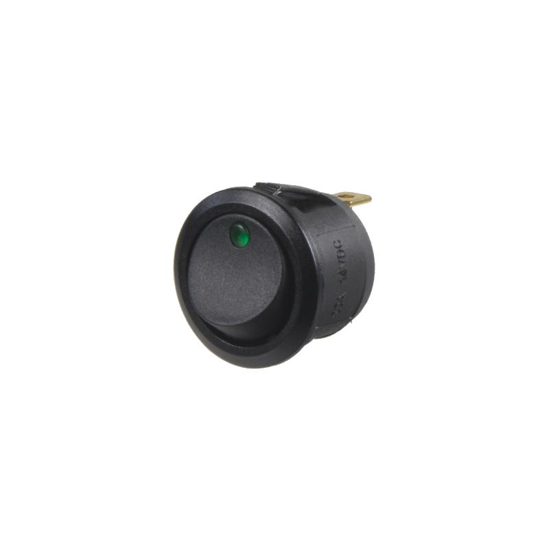 Spínač kolébkový kulatý 20A zelená LED