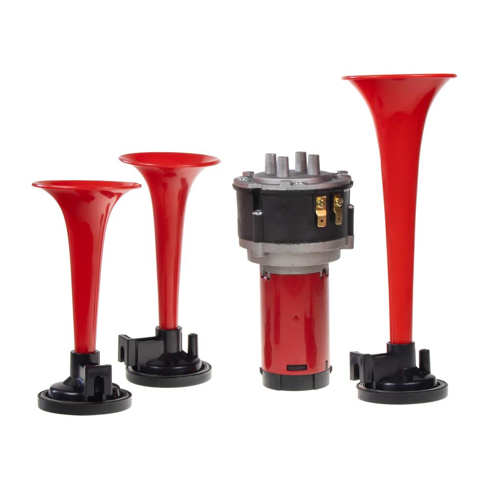 3-tónová fanfára 220mm, 12V červená s kompresorem ECE R28
