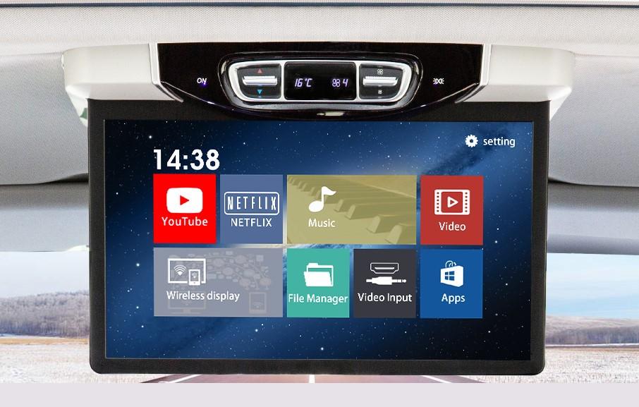 "Stropní LCD monitor 15,6"" šedý s OS. Android HDMI / USB, pro Mercedes-Benz V260"