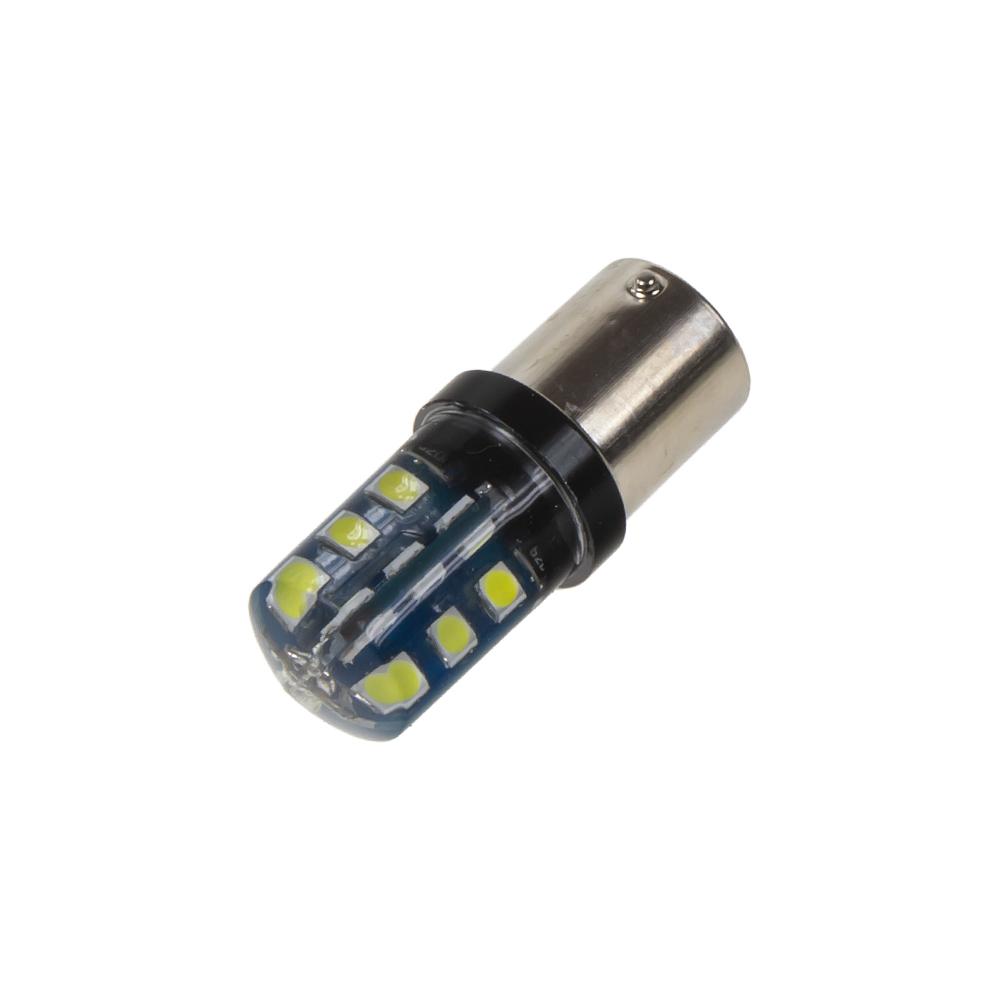 LED BA15s bílá, 12V, 24LED/3030SMD