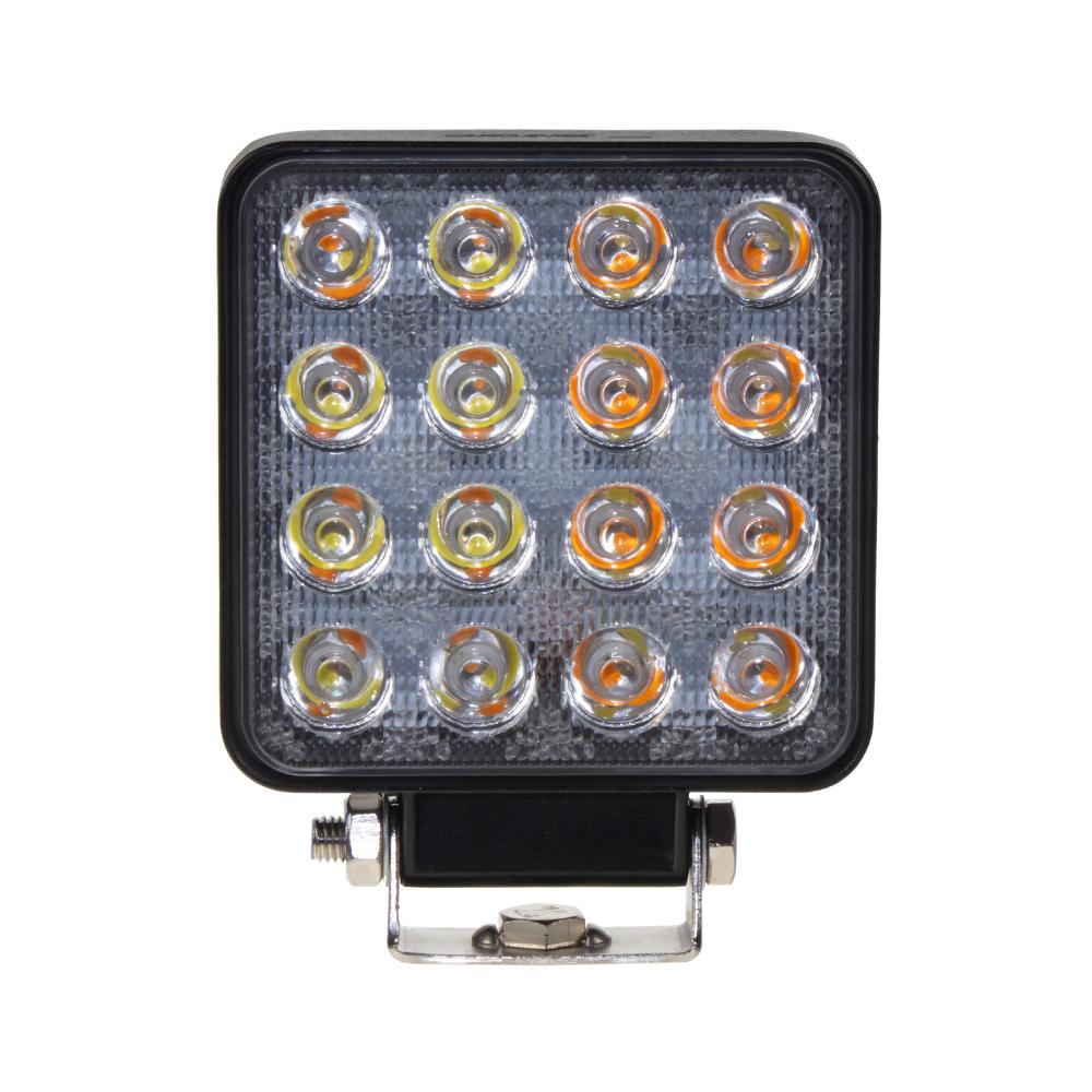 LED světlo čtvercové bílé/oranžové, 16x3W, 110x110mm, ECE R10
