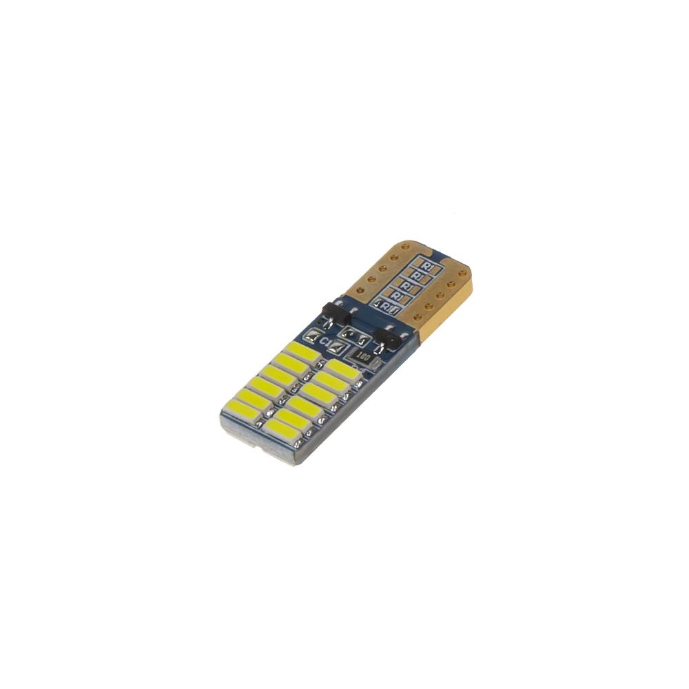 LED T10 bílá, 12V, 24LED/4014SMD, oboustranná