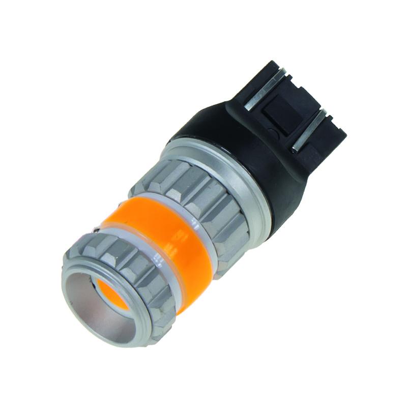LED T20 (7443) oranžová, COB 360⁰, 9-60V, 12W