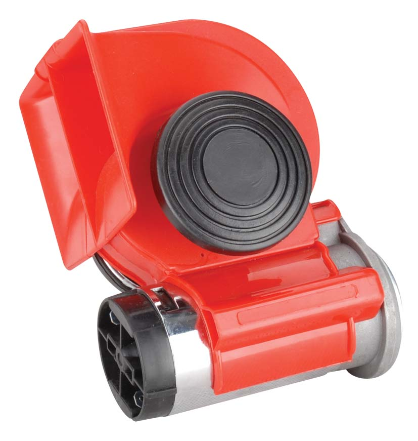 Šneková kompresorová fanfára 12V, červená