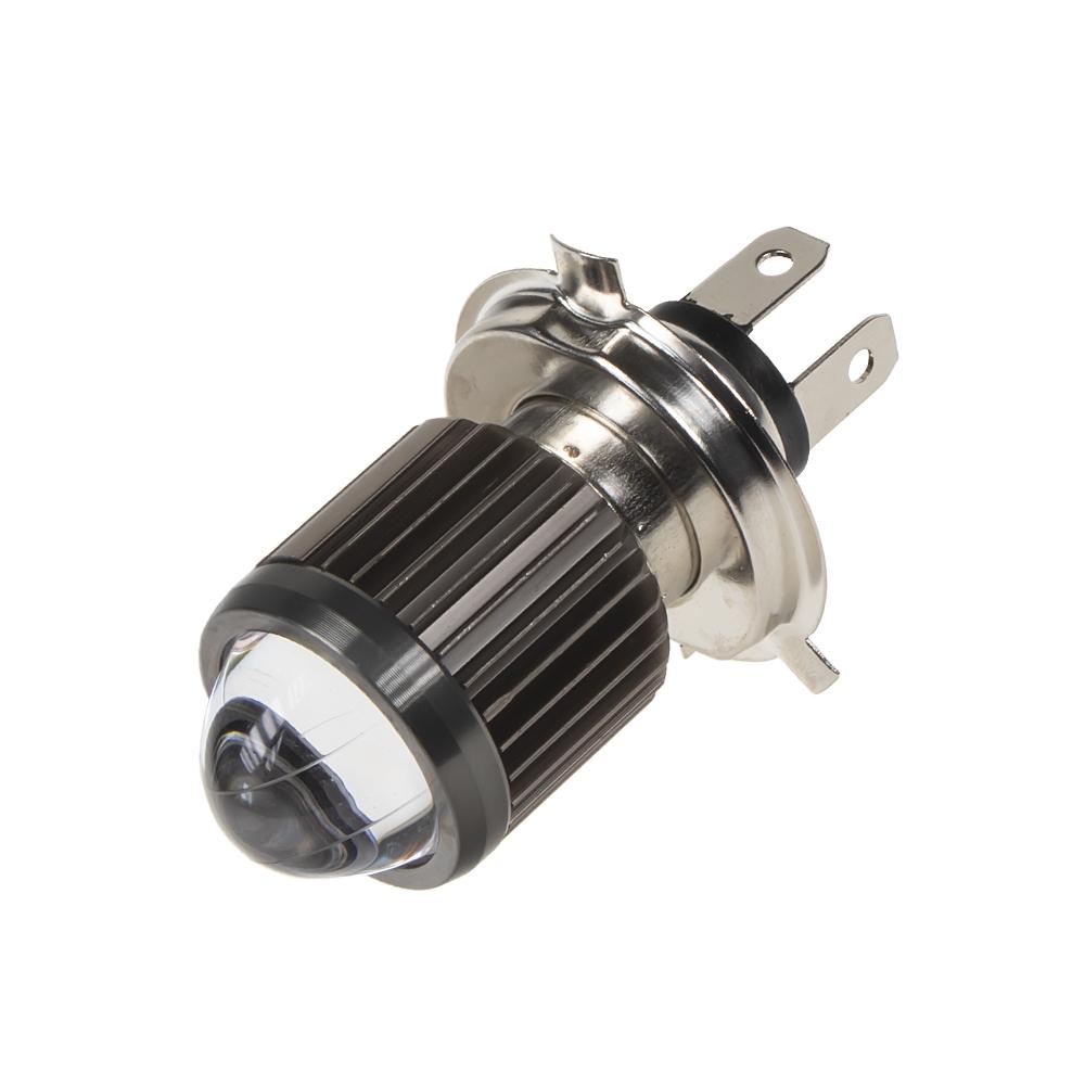 LED H4 žlutá / bílá, 12 V, motocyklová s čočkou