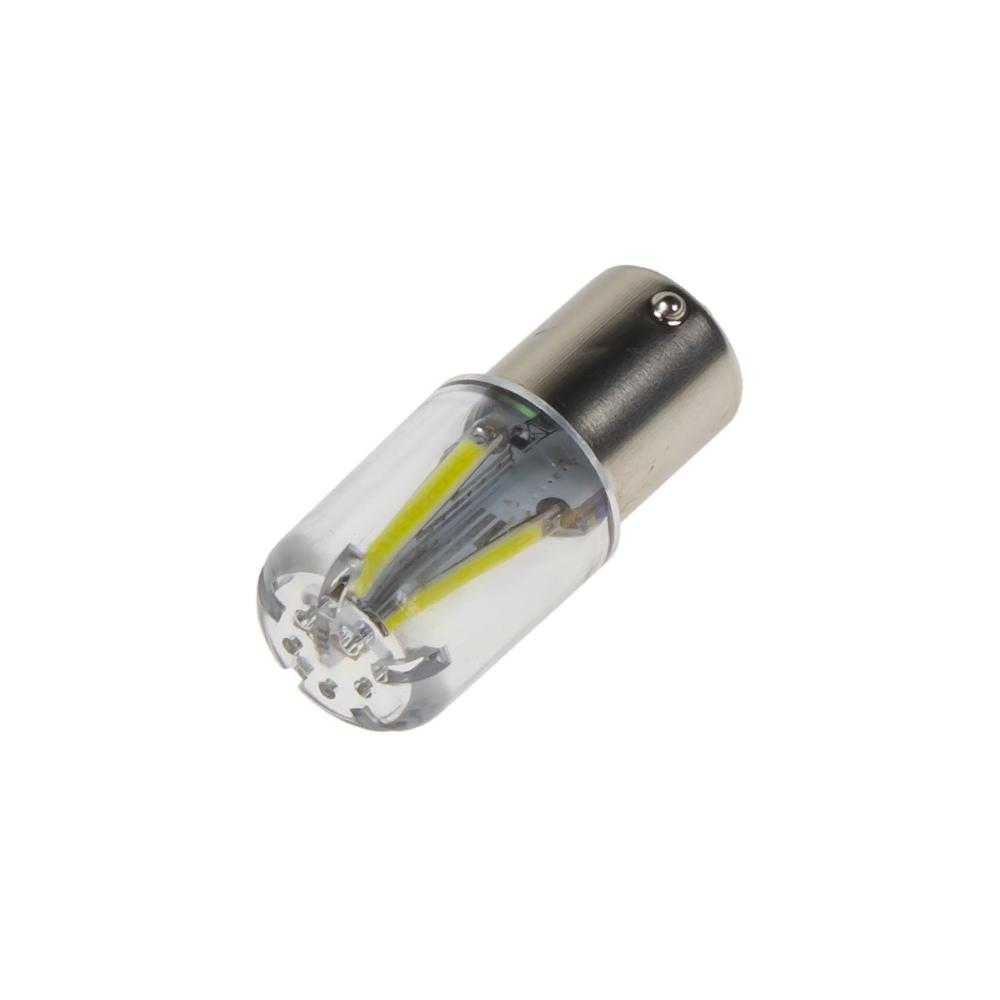 LED BA15s bílá, 12-24V, 4LED/COB