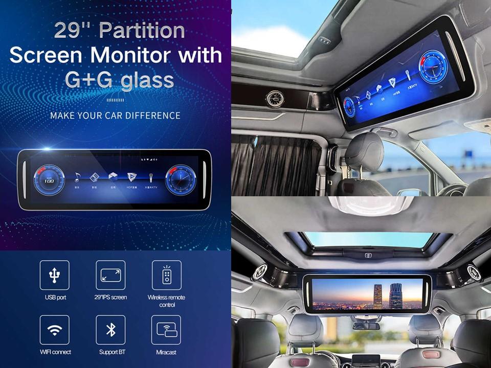 """Stropní LCD monitor 29"""" pro Mercedes s OS. Android HDMI / USB, DO se snímačem pohybu"""