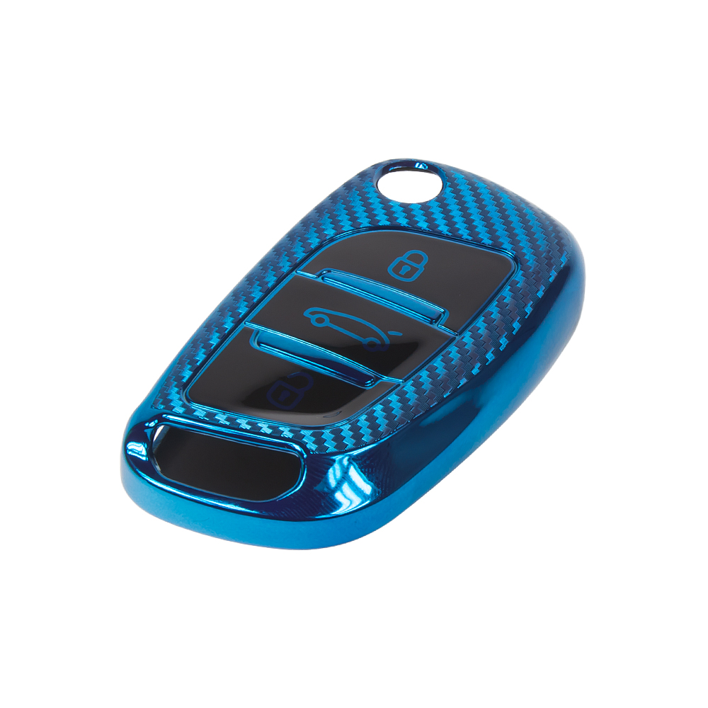 TPU obal pro klíč Peugeot/Citroën, 3-tlačítkový, carbon modrý