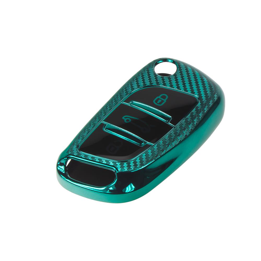 TPU obal pro klíč Peugeot/Citroën, 3-tlačítkový, carbon zelený