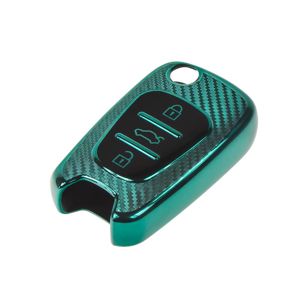 TPU obal pro klíč Hyundai/Kia, carbon zelený