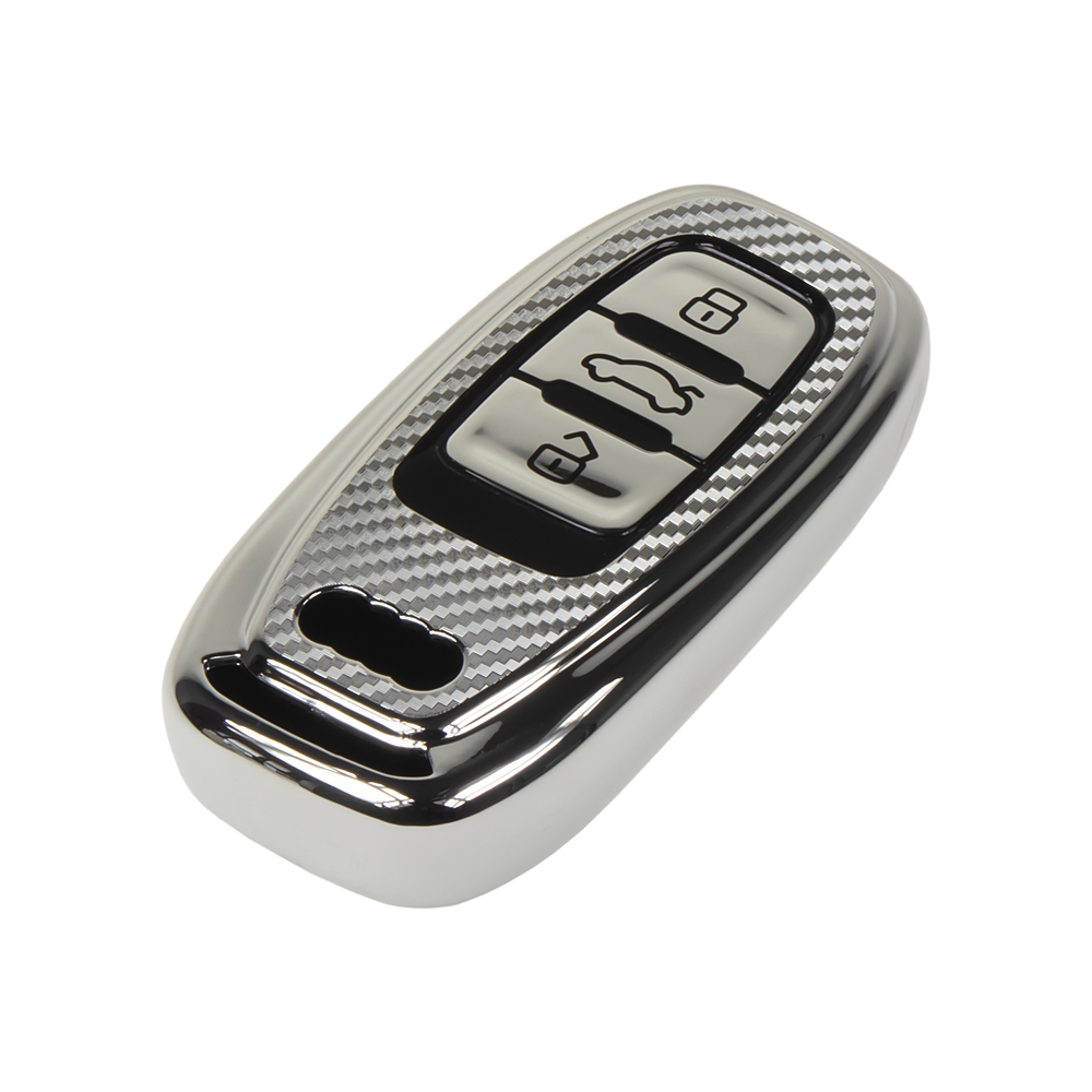 TPU obal pro klíč Audi, carbon silver