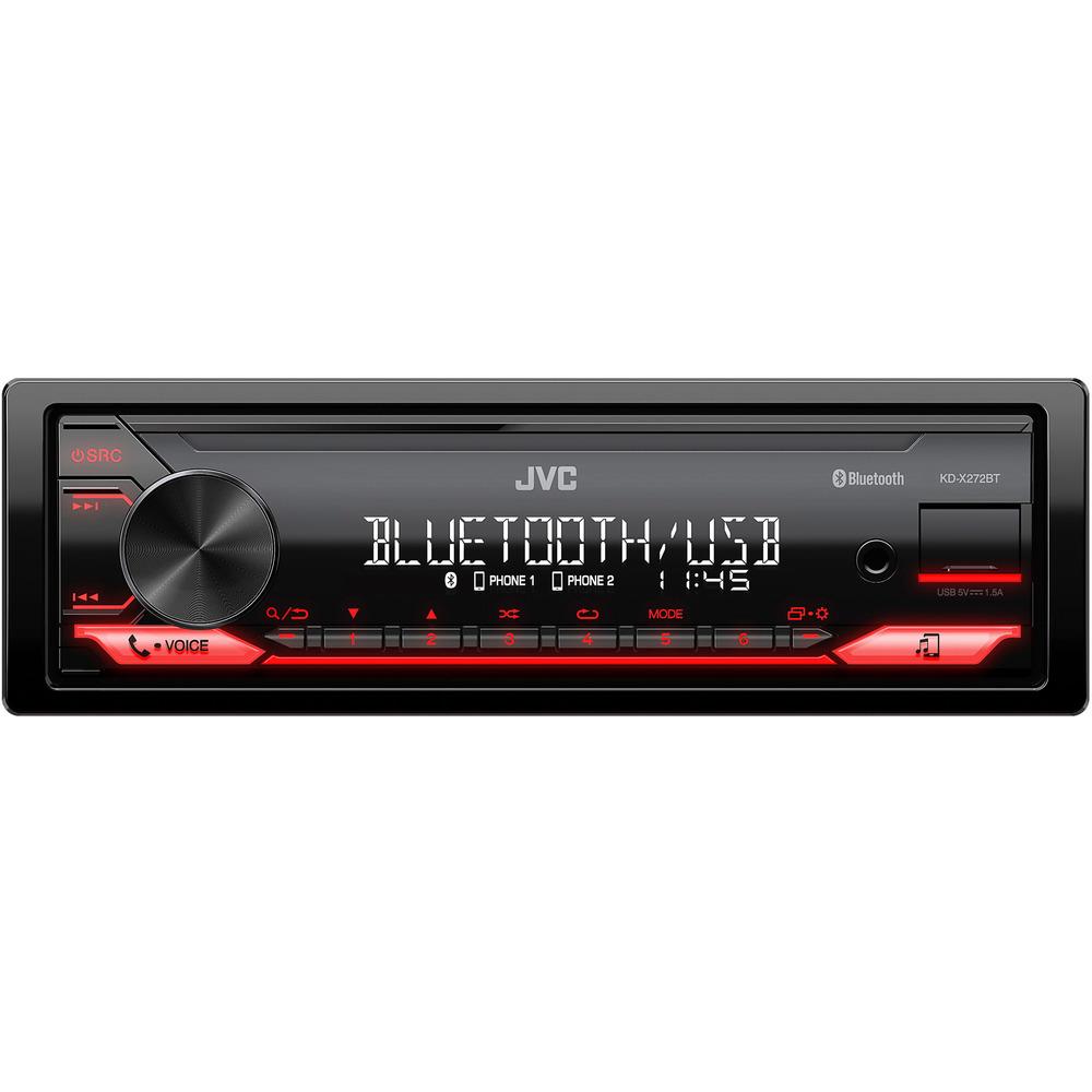 JVC autorádio bez mechaniky/Bluetooth/USB/AUX/červená barva podsvícení/odním.panel