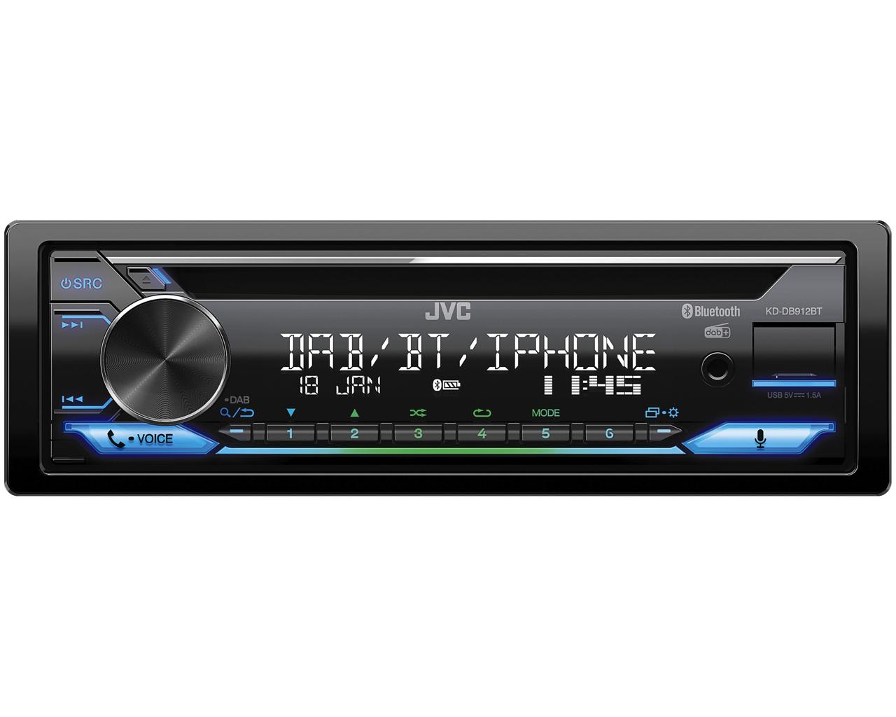 JVC DAB / FM autorádio s CD/Bluetooth/USB/AUX/odním.panel/multicolor