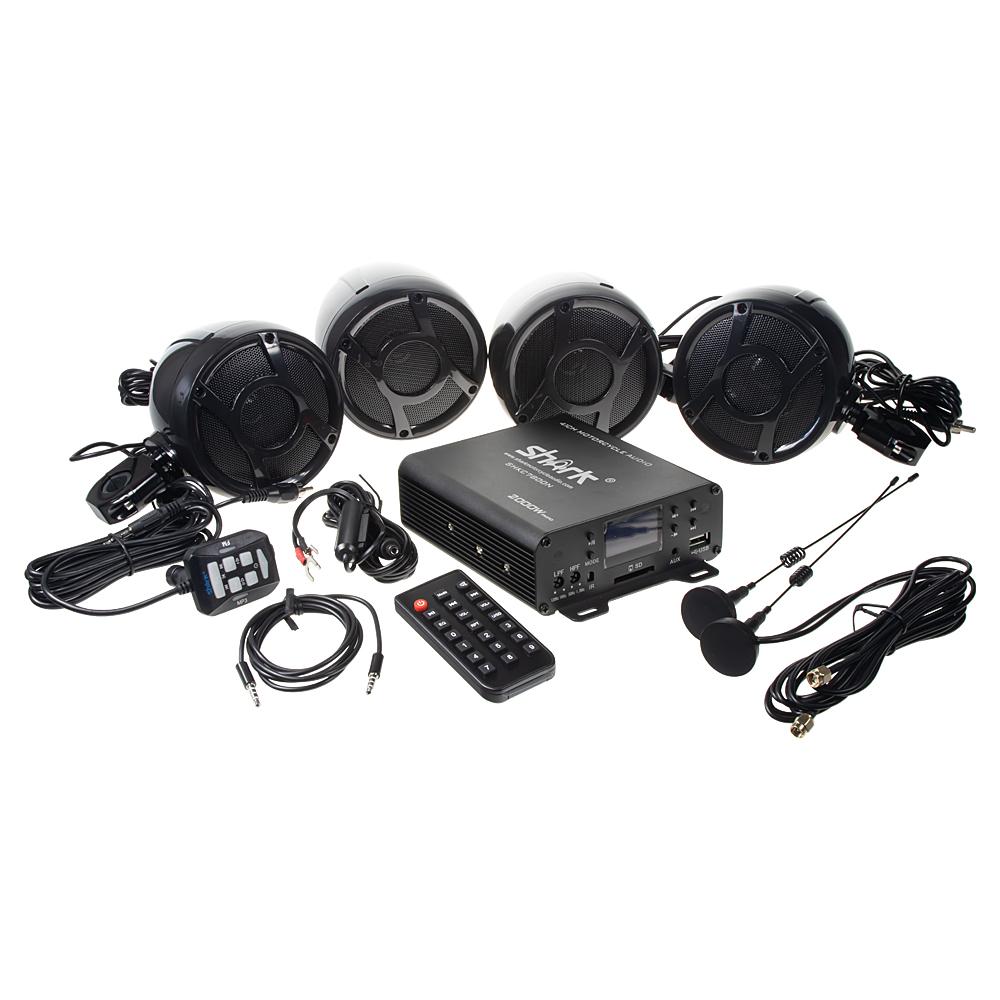 4.1CH zvukový systém na motocykl, skútr, ATV, loď s FM, USB, AUX, BT, černé