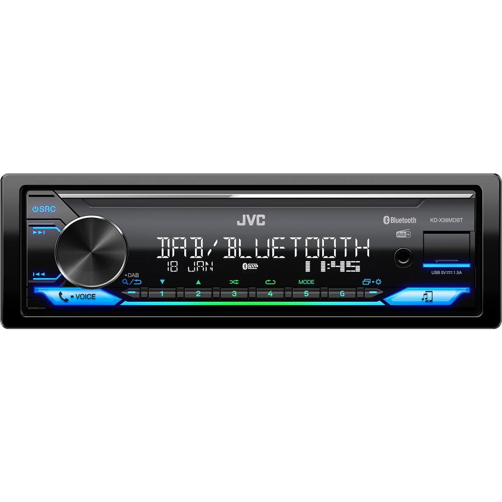 JVC voděodolné DAB+ autorádio bez mechaniky/Bluetooth/USB/AUX/multicolor podsvícení/odním.panel