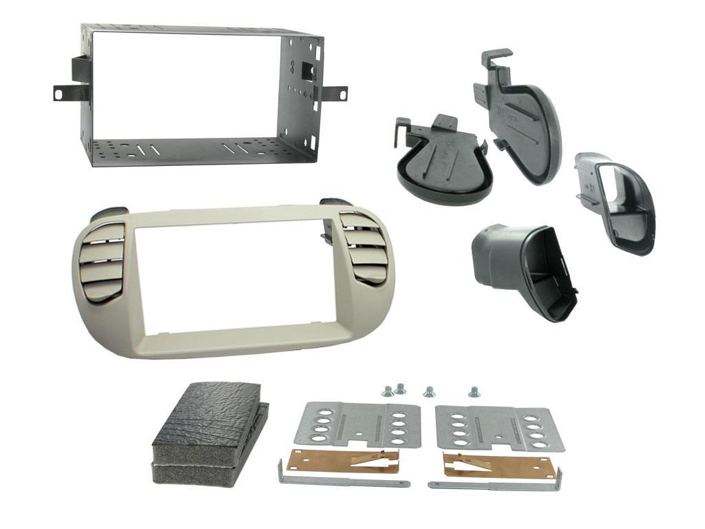 2DIN redukce pro Fiat 500 10/2007- perleťově šedá