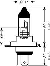 OSRAM 24V H4 75/70W standard (1ks)