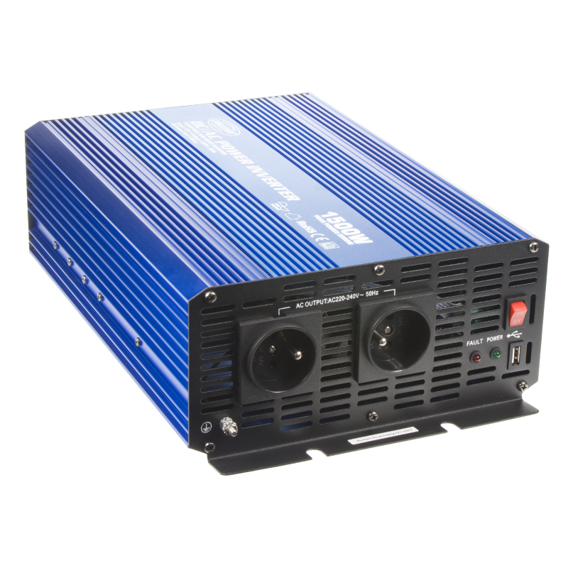 Sinusový měnič napětí z 12/230V + USB, 1500W