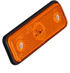 Boční obrysové LED světlo, 12-24V, oranžové, obdélník, homologace