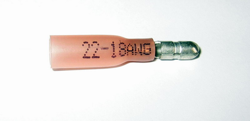 Zástrčka kruhová 4,0 mm se smršťovací bužírkou červená, 100 ks