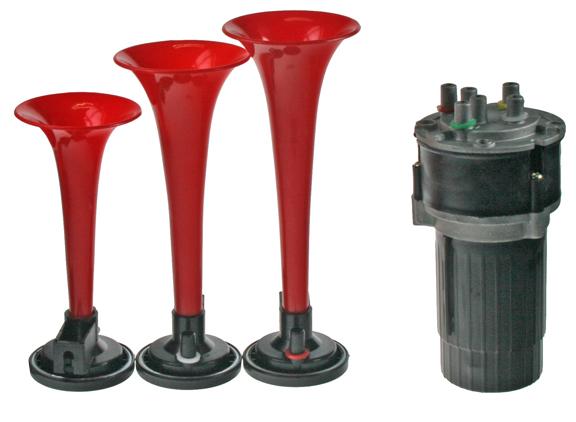 3-tónová fanfára 220mm, 12V červená s kompresorem