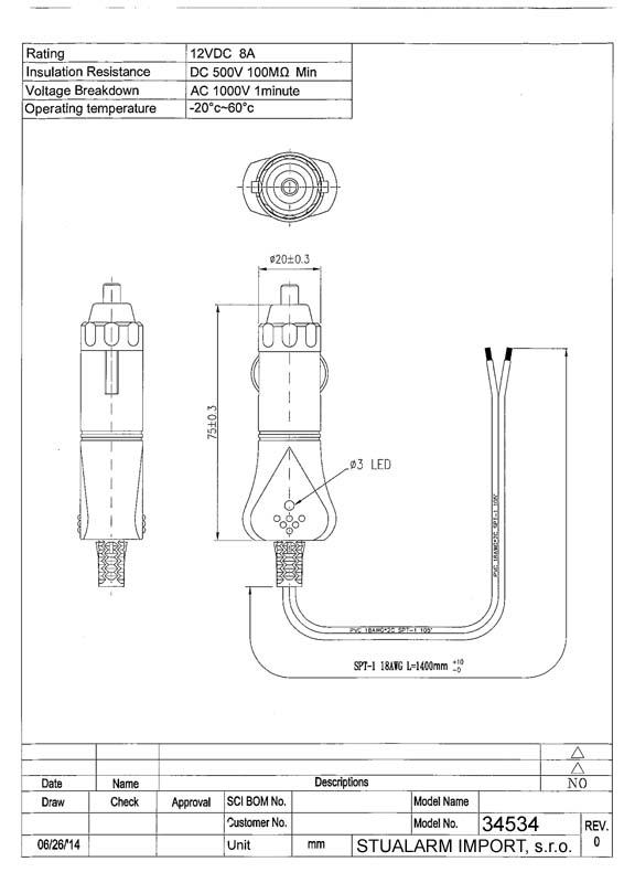 CL zástrčka s LED a kabelem