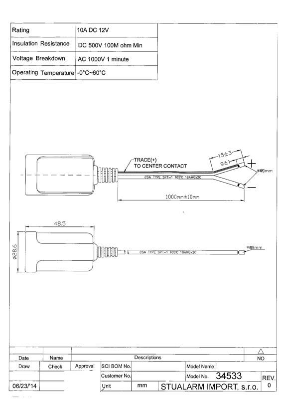 CL zásuvka s kabelem