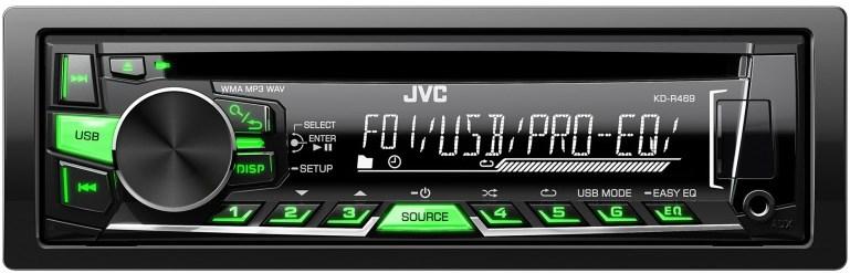 JVC autorádio s CD/MP3/USB/zeleně nebo červeně podsvícená tlačítka/odním.panel