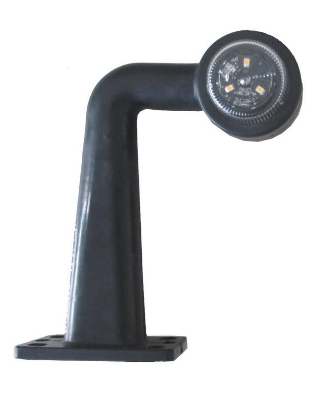 Poziční LED (tykadlo) 90°gumové - červeno/bílé, 12-24V, ECE