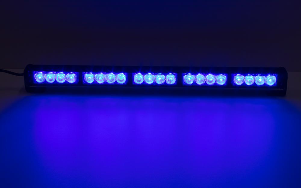 LED světelná alej, 20x LED 3W, modrá 580mm, ECE R10 R65