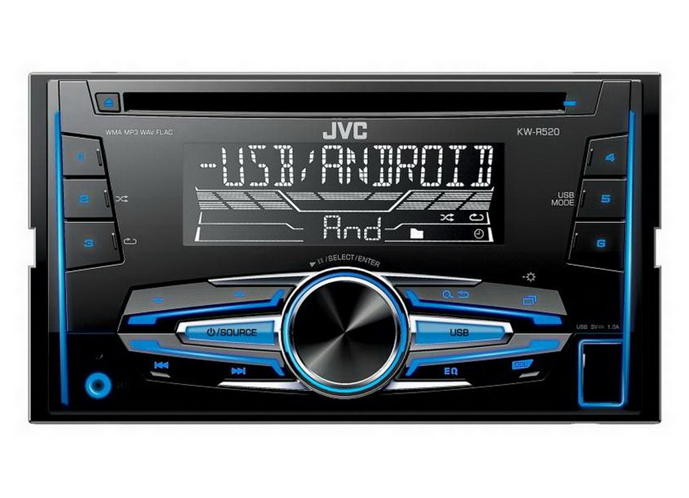 JVC 2DIN autorádio s CD/USB/2xAUX/Multicolor