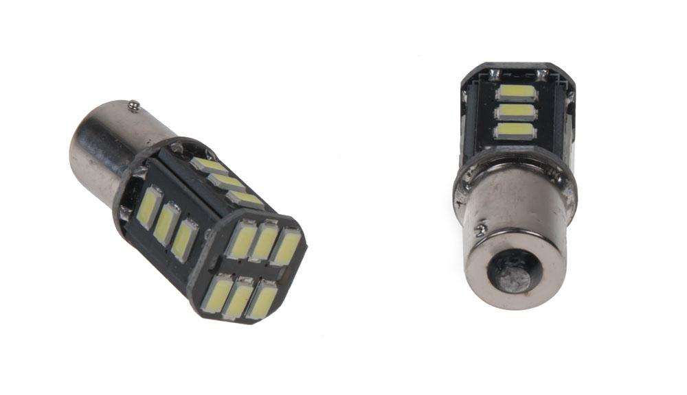 LED BA15s bílá, 12V, 18LED/5630SMD