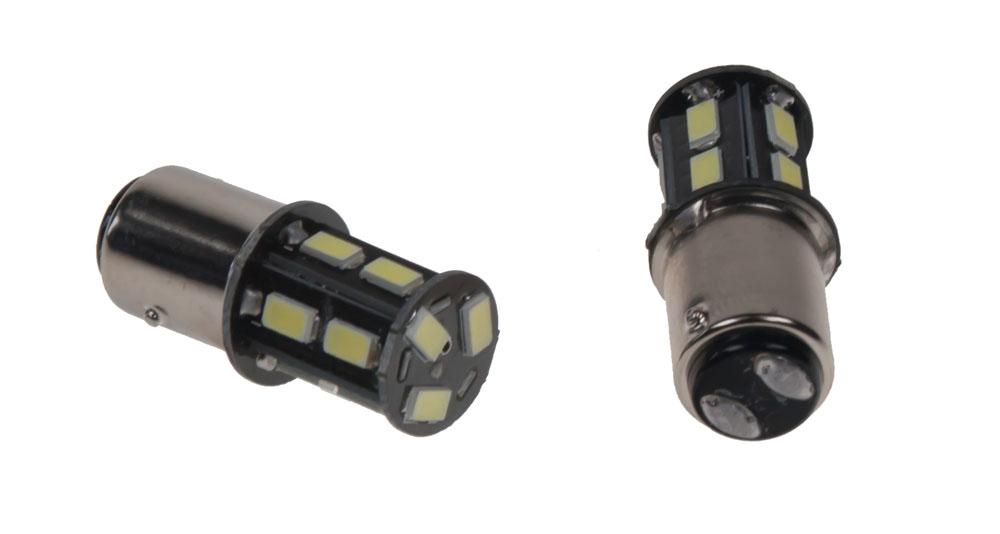 LED BAY15D - dvouvlákno, bílá, 12V, 13LED/5630SMD
