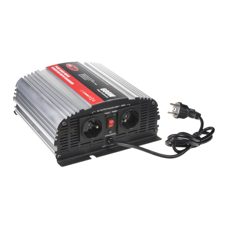 Autonabíječka 12V/10A + měnič sinus 600W 12/230V, UPS